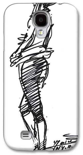 Girl Galaxy S4 Cases - Girl Standing Galaxy S4 Case by Ylli Haruni