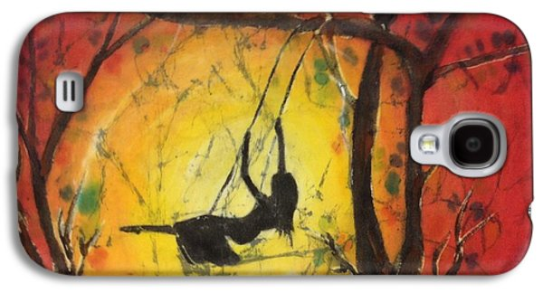 Girl Tapestries - Textiles Galaxy S4 Cases - Girl Swinging Galaxy S4 Case by Peggy D