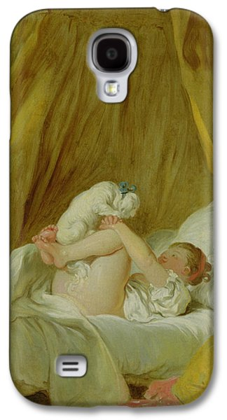 Youthful Paintings Galaxy S4 Cases - Girl with a Dog Galaxy S4 Case by Jean Honore Fragonard