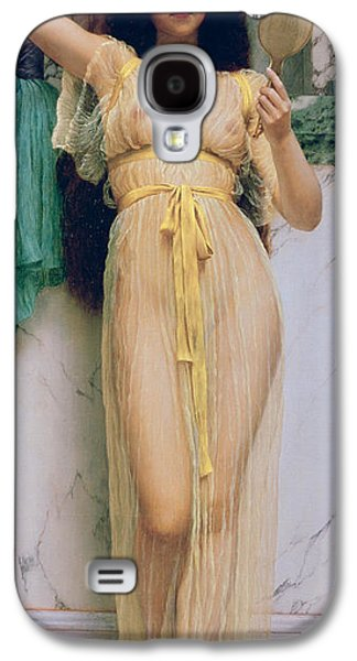 Alluring Paintings Galaxy S4 Cases - Girl with a Mirror Galaxy S4 Case by John William Godward