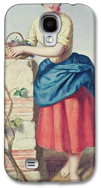 Youthful Paintings Galaxy S4 Cases - Girl with Basket of Grapes Galaxy S4 Case by Jules I Bouvier