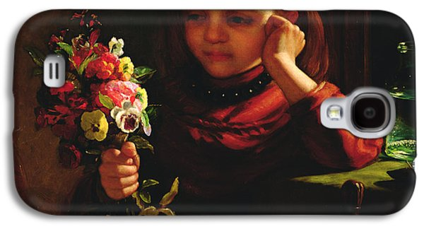 Youthful Galaxy S4 Cases - Girl With Flowers Galaxy S4 Case by John Davidson