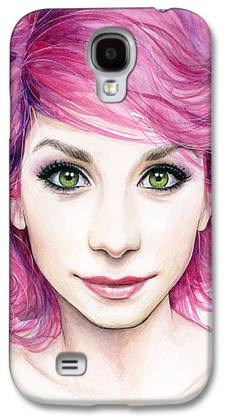 Face Mixed Media Galaxy S4 Cases - Girl with Magenta Hair Galaxy S4 Case by Olga Shvartsur