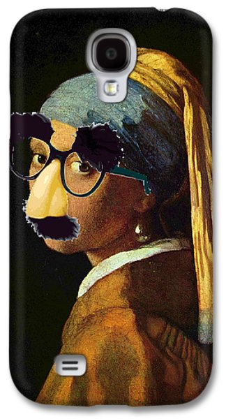 Satire Mixed Media Galaxy S4 Cases - Girl With The Pearl Earring and Groucho Glasses Galaxy S4 Case by Tony Rubino