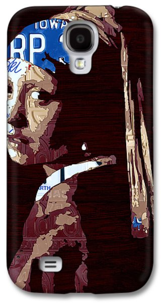 Girls Mixed Media Galaxy S4 Cases - Girl with the Pearl Earring by Johannes Vermeer License Plate Art Galaxy S4 Case by Design Turnpike
