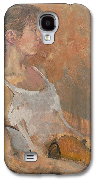Sombre Galaxy S4 Cases - Girl With Violin, 2007 Oil On Canvas Galaxy S4 Case by Pat Maclaurin