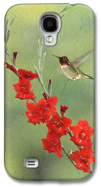Gladiolas Galaxy S4 Cases - Glad Hummingbird Galaxy S4 Case by Angie Vogel