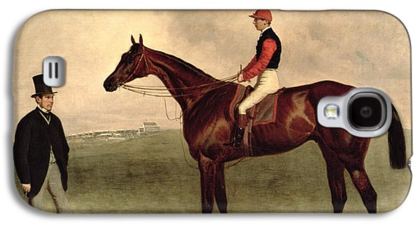 Jockeys Galaxy S4 Cases - Gladiateur with Harry Grimshaw Up and His Owner Count Frederic de Lagrange Galaxy S4 Case by Harry Hall