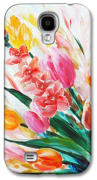 Still Life Sculptures Galaxy S4 Cases - Gladiola 1 left Galaxy S4 Case by Marguerite Ujvary Taxner