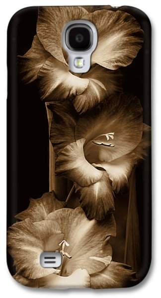 Gladiolas Galaxy S4 Cases - Gladiola Flowers Evening Light in Sepia Galaxy S4 Case by Jennie Marie Schell