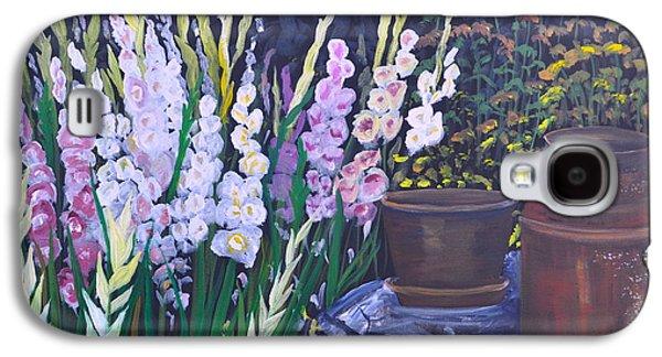 Gladiolas Paintings Galaxy S4 Cases - Gladiola Garden Galaxy S4 Case by Sally Rice