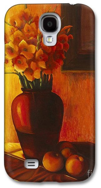 Gladiolas Paintings Galaxy S4 Cases - Gladioli Red Galaxy S4 Case by Marlene Book