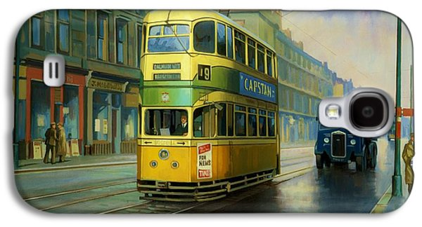 Streetscenes Paintings Galaxy S4 Cases - Glasgow tram. Galaxy S4 Case by Mike  Jeffries