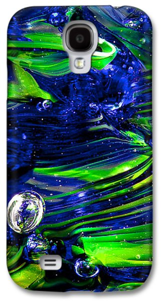 Abstract Digital Digital Galaxy S4 Cases - Glass Macro Seattle Seahawks Wave Galaxy S4 Case by David Patterson
