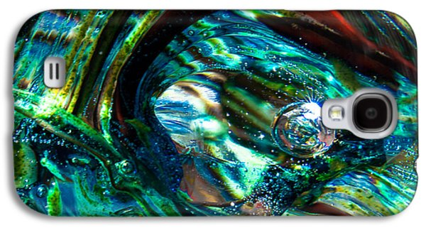 Glass Reflections Galaxy S4 Cases - Glass Macro - Blue Green Swirls Galaxy S4 Case by David Patterson
