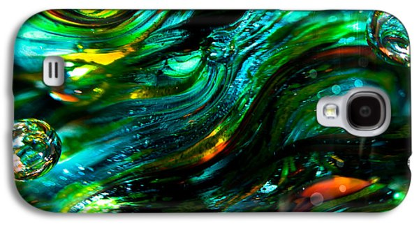 Glass Reflections Galaxy S4 Cases - Glass Macro - Greens and Blues Galaxy S4 Case by David Patterson