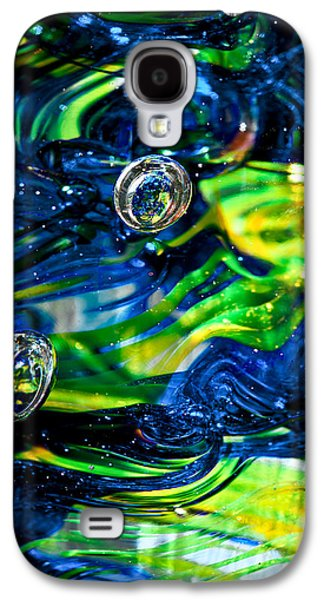 Glass Reflections Galaxy S4 Cases - Glass Macro - Seahawks Blue and Green -13E4 Galaxy S4 Case by David Patterson