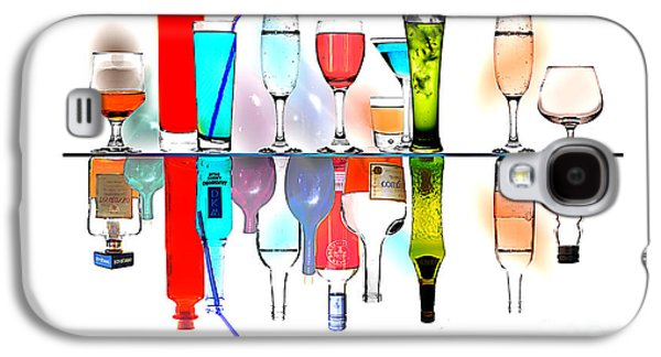 Still Life Glass Art Galaxy S4 Cases - Glasses reflecting Bottles Galaxy S4 Case by Malcolm Bumstead