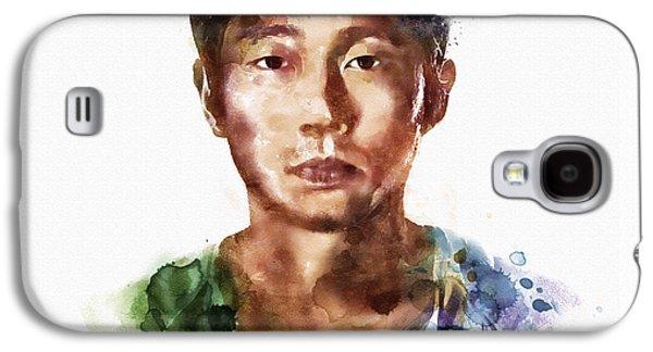 Walking Mixed Media Galaxy S4 Cases - Glenn Rhee watercolor portrait Galaxy S4 Case by Marian Voicu