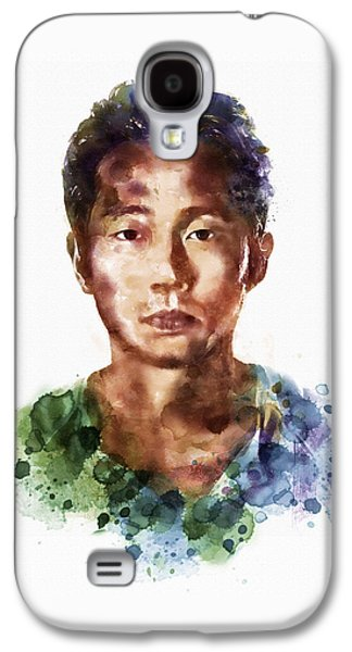 """""""square """" Mixed Media Galaxy S4 Cases - Glenn Rhee watercolor portrait Galaxy S4 Case by Marian Voicu"""