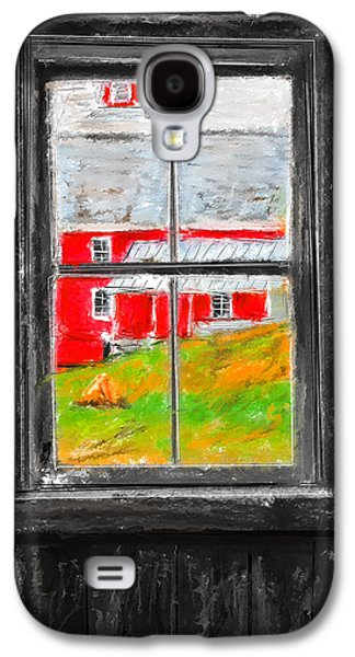 Farm Scene Galaxy S4 Cases - Glimpse of Country Life- Red Barn Art Galaxy S4 Case by Lourry Legarde