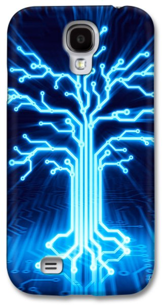 Nature Abstract Galaxy S4 Cases - Glowing digital tree circuits conceptual illustration Galaxy S4 Case by Oleksiy Maksymenko