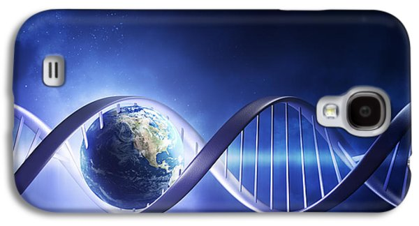 Blue Abstracts Digital Galaxy S4 Cases - Glowing earth DNA strand Galaxy S4 Case by Johan Swanepoel