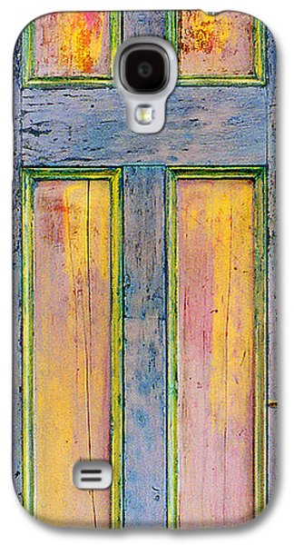 Blue Abstracts Sculptures Galaxy S4 Cases - GlowingThrough Painted Door Galaxy S4 Case by Asha Carolyn Young