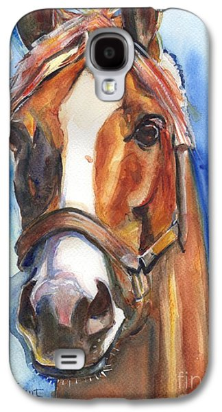 Chestnut Horse Galaxy S4 Cases - Horse Painting of California Chrome Go Chrome Galaxy S4 Case by Maria