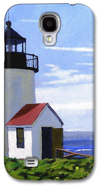 Nubble Lighthouse Paintings Galaxy S4 Cases - Goat Island Lighthouse Maine Galaxy S4 Case by Christine Hopkins