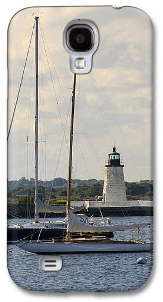 Goat Digital Art Galaxy S4 Cases - Goat Island Lighthouse - Newport Rhode Island Galaxy S4 Case by Bill Cannon