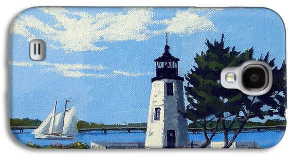 Sand Castles Paintings Galaxy S4 Cases - Goat Island Lighthouse Newport Rhode Island Galaxy S4 Case by Christine Hopkins