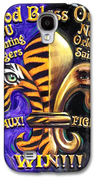 Fleur De Lis Galaxy S4 Cases - God Bless Our Tigers And Saints Galaxy S4 Case by Mike Roberts