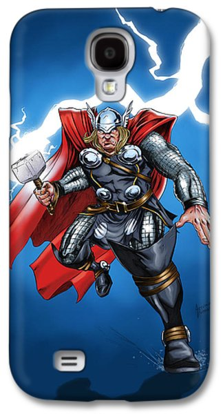 Hammer Paintings Galaxy S4 Cases - God of Thunder Galaxy S4 Case by Arturo Vilmenay