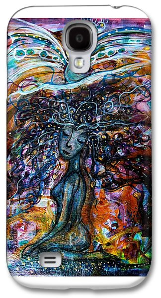 Goddess Mythology Paintings Galaxy S4 Cases - Goddess And Peacock Galaxy S4 Case by Mimulux patricia no