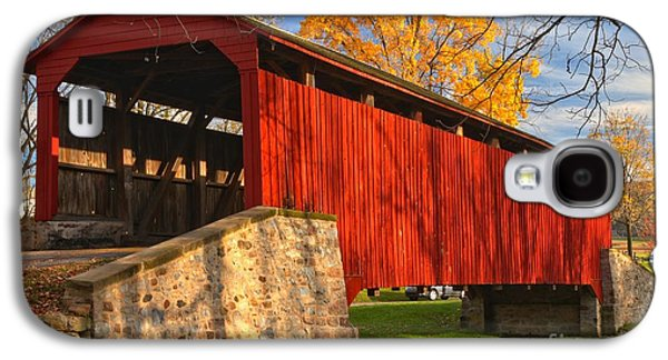 Conestoga Galaxy S4 Cases - Gold Above The Poole Forge Covered Bridge Galaxy S4 Case by Adam Jewell