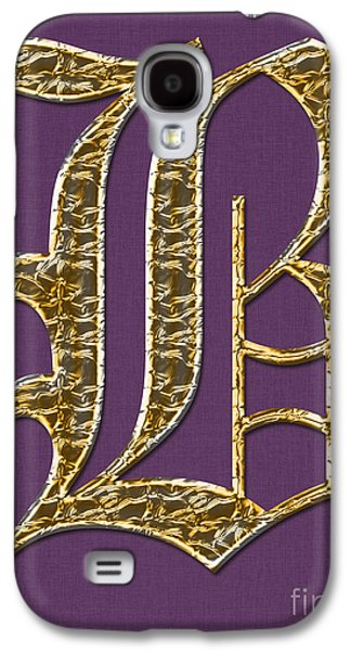 Becky Digital Art Galaxy S4 Cases - Gold B on Purple Galaxy S4 Case by Barbara Griffin