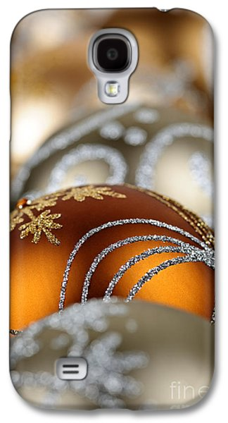 Festivities Galaxy S4 Cases - Gold Christmas ornaments Galaxy S4 Case by Elena Elisseeva