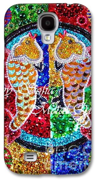 Beadwork Jewelry Galaxy S4 Cases - Gold fishes of good luck. Embroidery beadwork art Galaxy S4 Case by Sofia Metal Queen