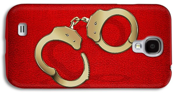Police Art Galaxy S4 Cases - Gold Handcuffs on Red Leather Background Galaxy S4 Case by Serge Averbukh