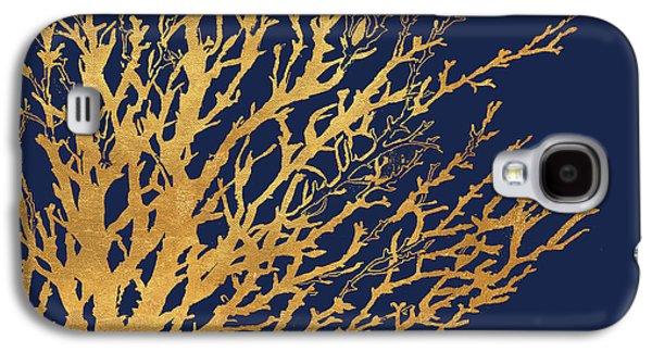 Gold Medley On Navy Galaxy S4 Case by Lanie Loreth
