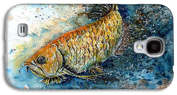 Golden Fish Paintings Galaxy S4 Cases - Golden Arowana Galaxy S4 Case by Zaira Dzhaubaeva