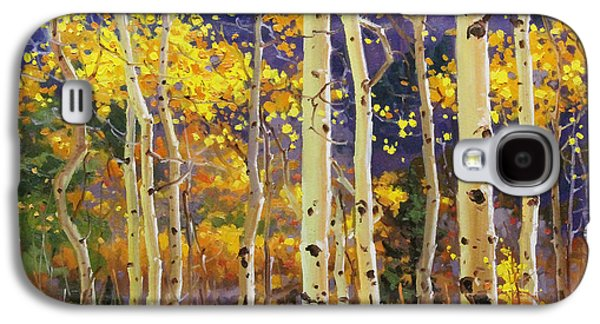 Misty Prints Galaxy S4 Cases - Golden Aspen w. Mystical Purple Galaxy S4 Case by Gary Kim