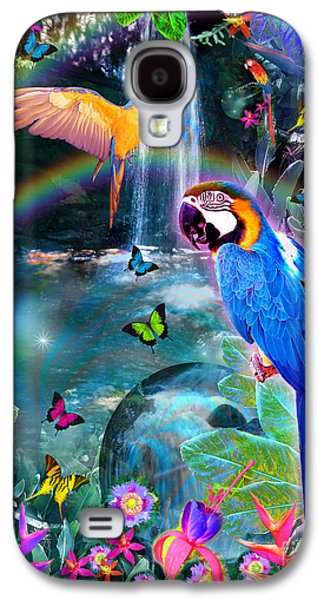 Alixandra Mullins Galaxy S4 Cases - Golden Bluebirds Paradise Version 2 Galaxy S4 Case by Alixandra Mullins
