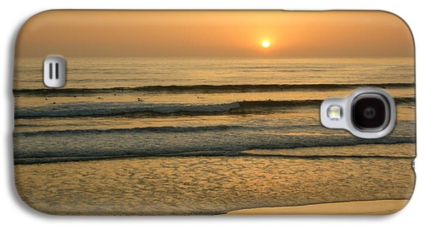 Person Galaxy S4 Cases - Golden California Sunset - Ocean Waves Sun and Surfers Galaxy S4 Case by Georgia Mizuleva