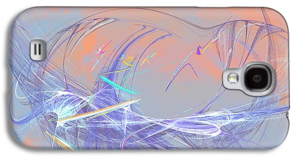 Abstract Digital Paintings Galaxy S4 Cases - Golden Day Skiers Galaxy S4 Case by Angela A Stanton