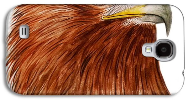 Feather Drawings Galaxy S4 Cases - Golden Eagle Galaxy S4 Case by Ele Grafton