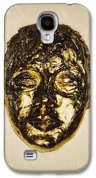 Portraits Ceramics Galaxy S4 Cases - Golden Face Frame Galaxy S4 Case by Joan-Violet Stretch