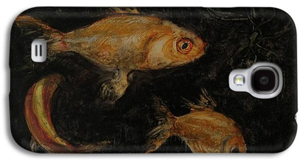 Golden Fish Paintings Galaxy S4 Cases - Golden Fishes Galaxy S4 Case by Pal Mezei