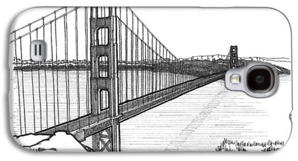 Suspension Drawings Galaxy S4 Cases - Golden Gate Bridge Galaxy S4 Case by Calvin Durham
